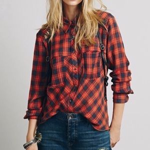 Free People gauzy lace up button down
